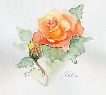 バラ ー水彩で描くー